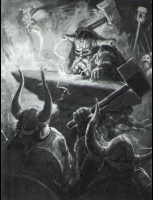 Dwarf runesmith striking the runes